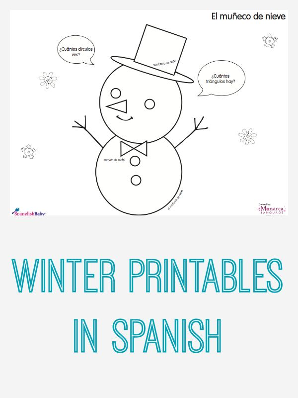 Winter Activity Sheets in Spanish Printable – Elementary Spanish Worksheets