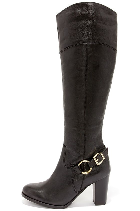 1645658c9ad Diba True City Glaze Black Leather Knee High Heel Boots at Lulus.com!