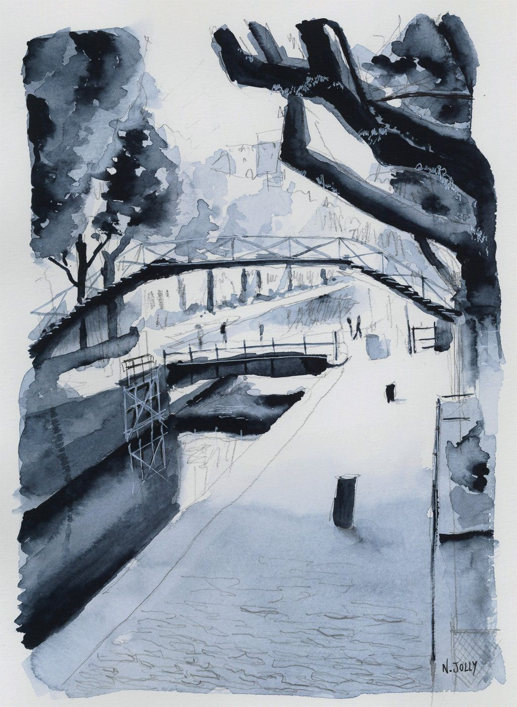 For Sale Original Canal Saint Martin Paris By Nicolasjolly