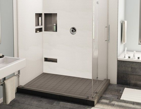 Redi Trench® Double Curb Shower Pan With Left Trench Drain
