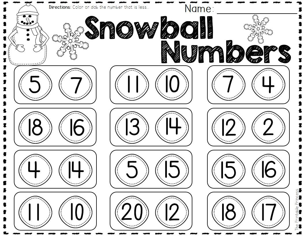 Winter activities and centers for kindergarten comparing numbers comparing numbers color the snowball with the smaller number robcynllc Choice Image