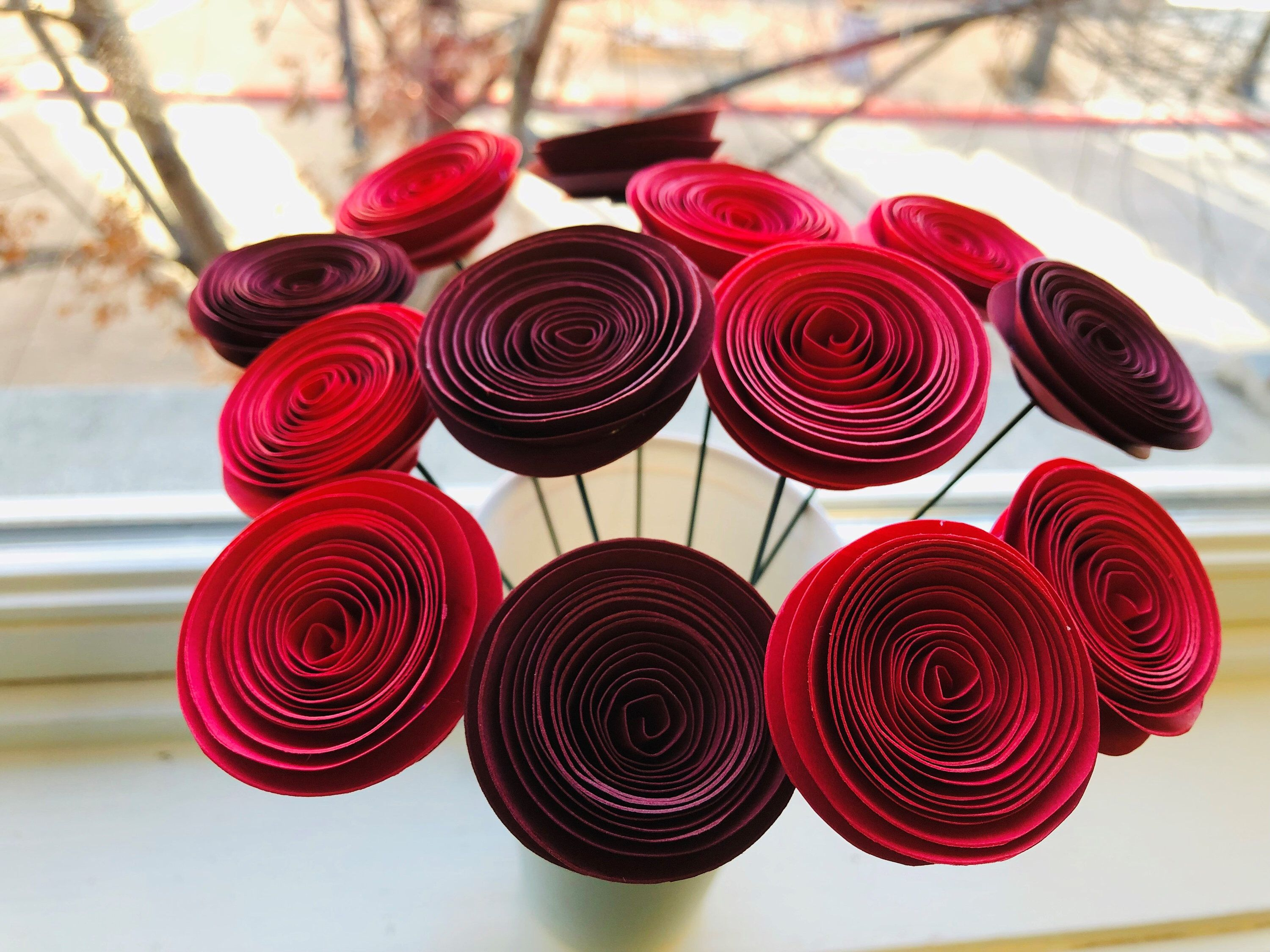 Valentines Day Flowers Paper Flowers Bouquet Ombre Red Flowers