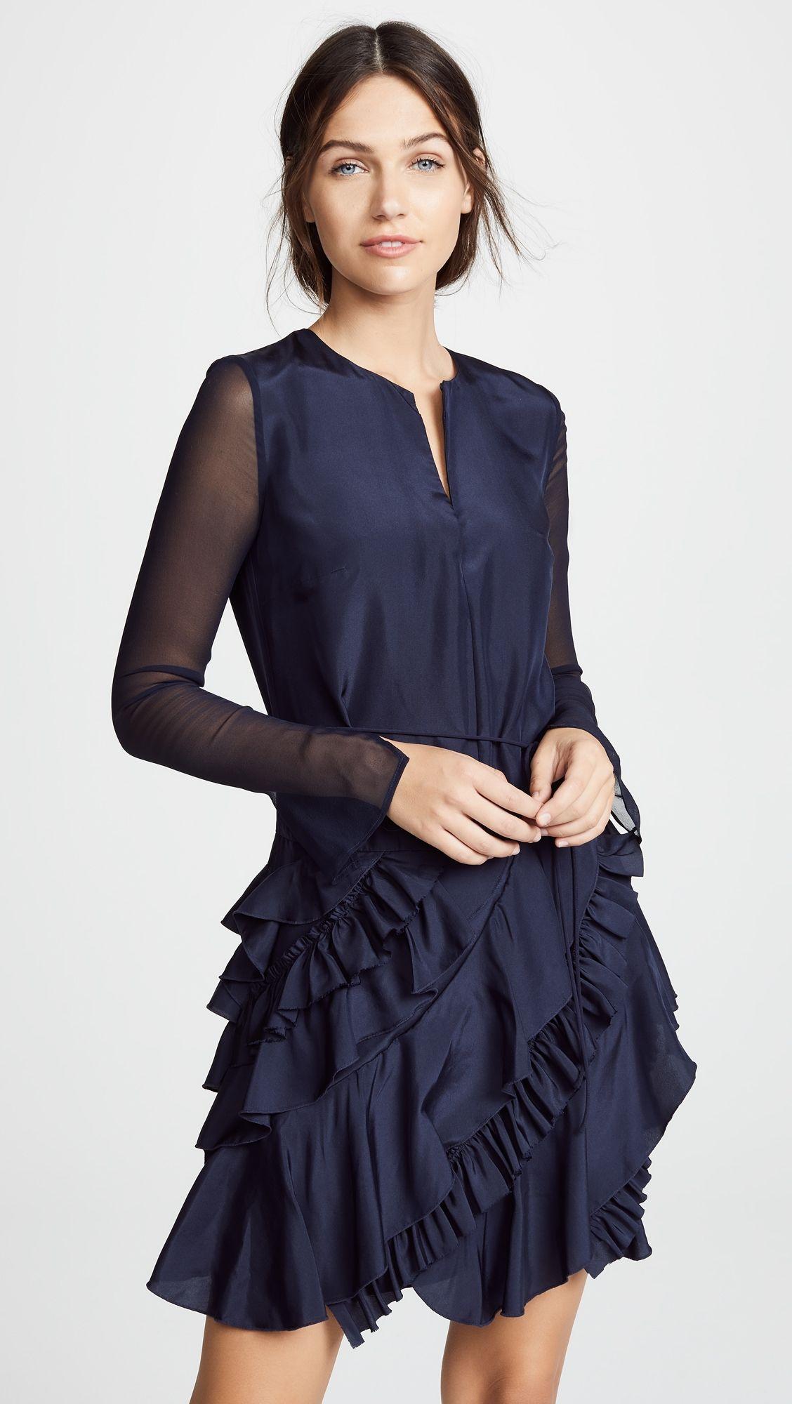 Jason wu grey silk long sleeve ruffle dress products pinterest