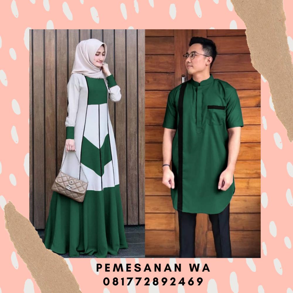 Model Baju Gamis Couple Terbaru Kombinasi Kemeja Koko Lengan
