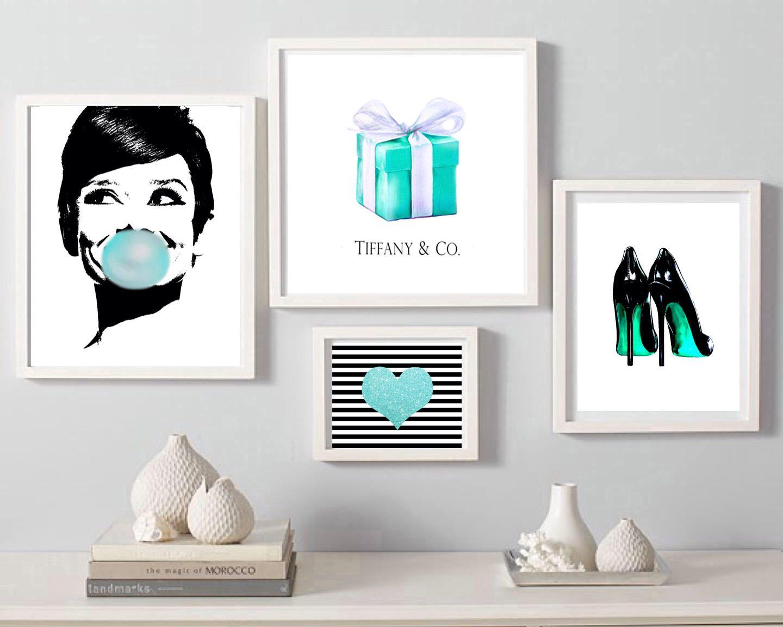 Audrey Bubble Gum Print Breakfast At Tiff Digital Download Heart Print Heels Fashion Wall Art Gift Box Set Of 4 Prints Digital Teal Art Fashion Wall Art Wall Art Gift Prints