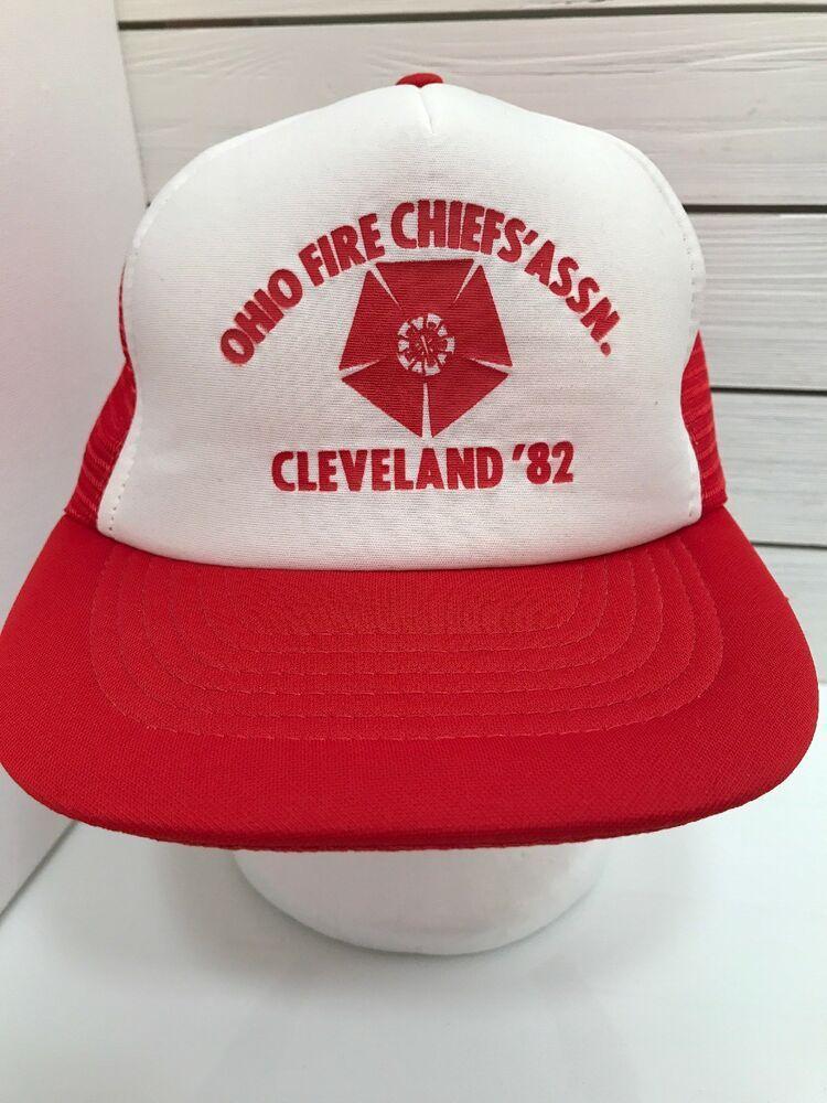 6bd69ddf Vintage Ohio Fire Chief Assn Cleveland 1982 Red White Trucker Mesh ...