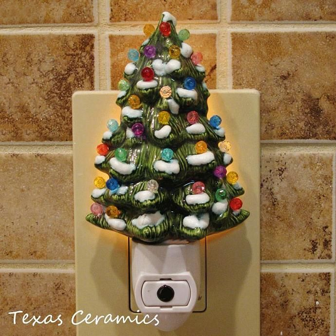 Decorated Ceramic Christmas Tree Night Light With Snow On Branches Automatic On And Off Switch Ready To Use Ceramic Christmas Trees Christmas Tree Night Light Christmas Tree With Coloured Lights