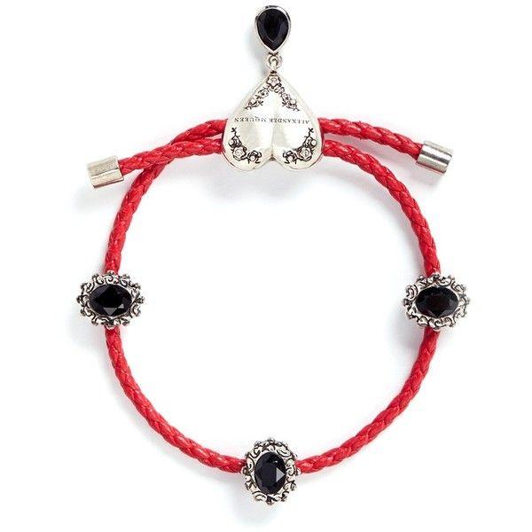 Alexander McQueen Swarovski crystal heart charm friendship bracelet ($297) ❤ liked on Polyvore featuring jewelry, bracelets, red, heart jewelry, charm bangles, engraved jewelry, red jewelry and heart shaped friendship bracelet
