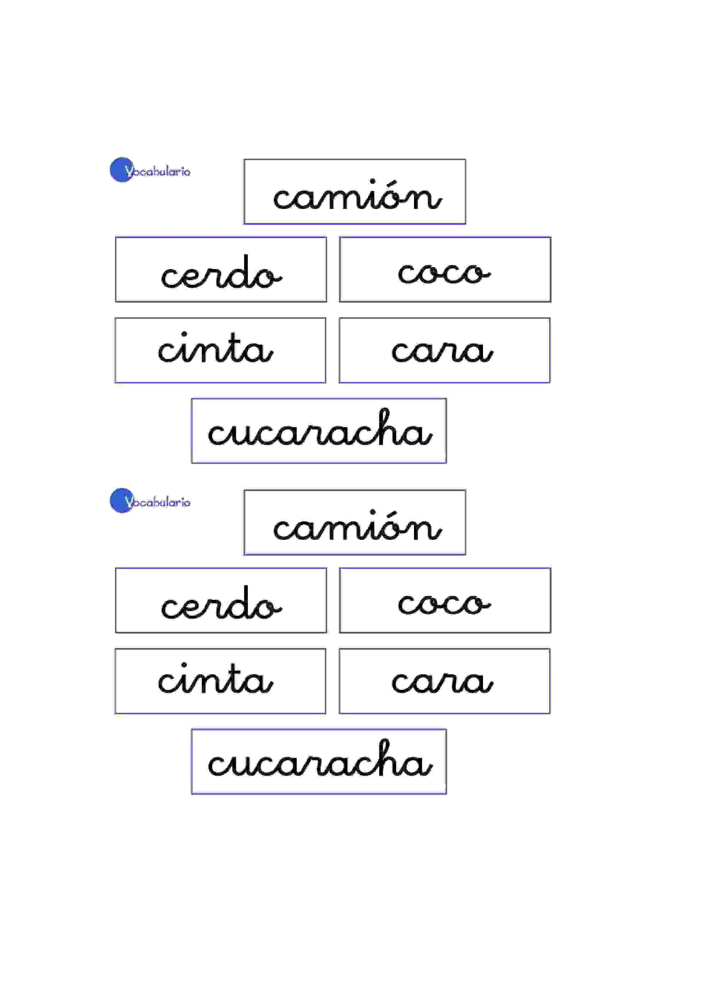 Lernübungen für kinder zu drucken. Vokabular Spanisch zu lernen 3 ...