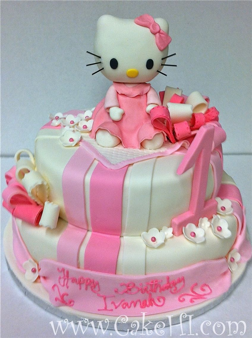 Incredible Hello Kitty First Birthday Cake Created By Cakehawaii Themed Funny Birthday Cards Online Aeocydamsfinfo