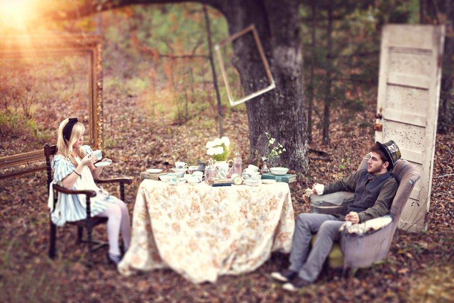 alice in wonderland inspired engagement photo session