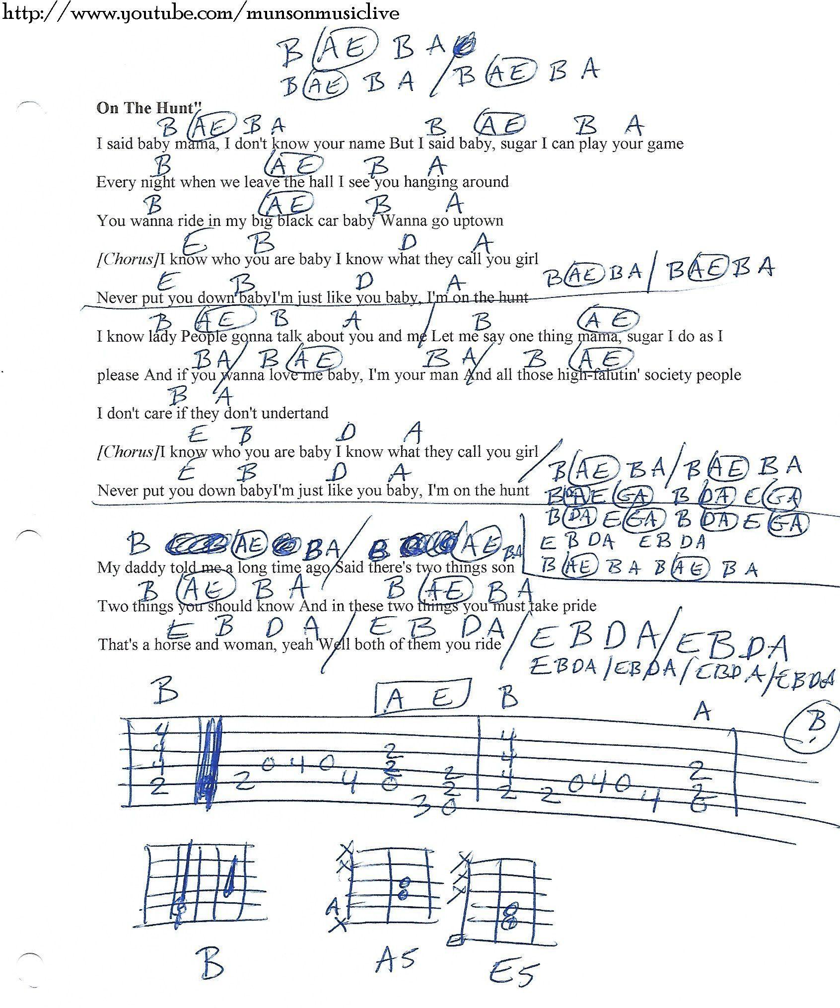 On The Hunt Lynyrd Skynyrd Guitar Chord Chart Guitar Lesson