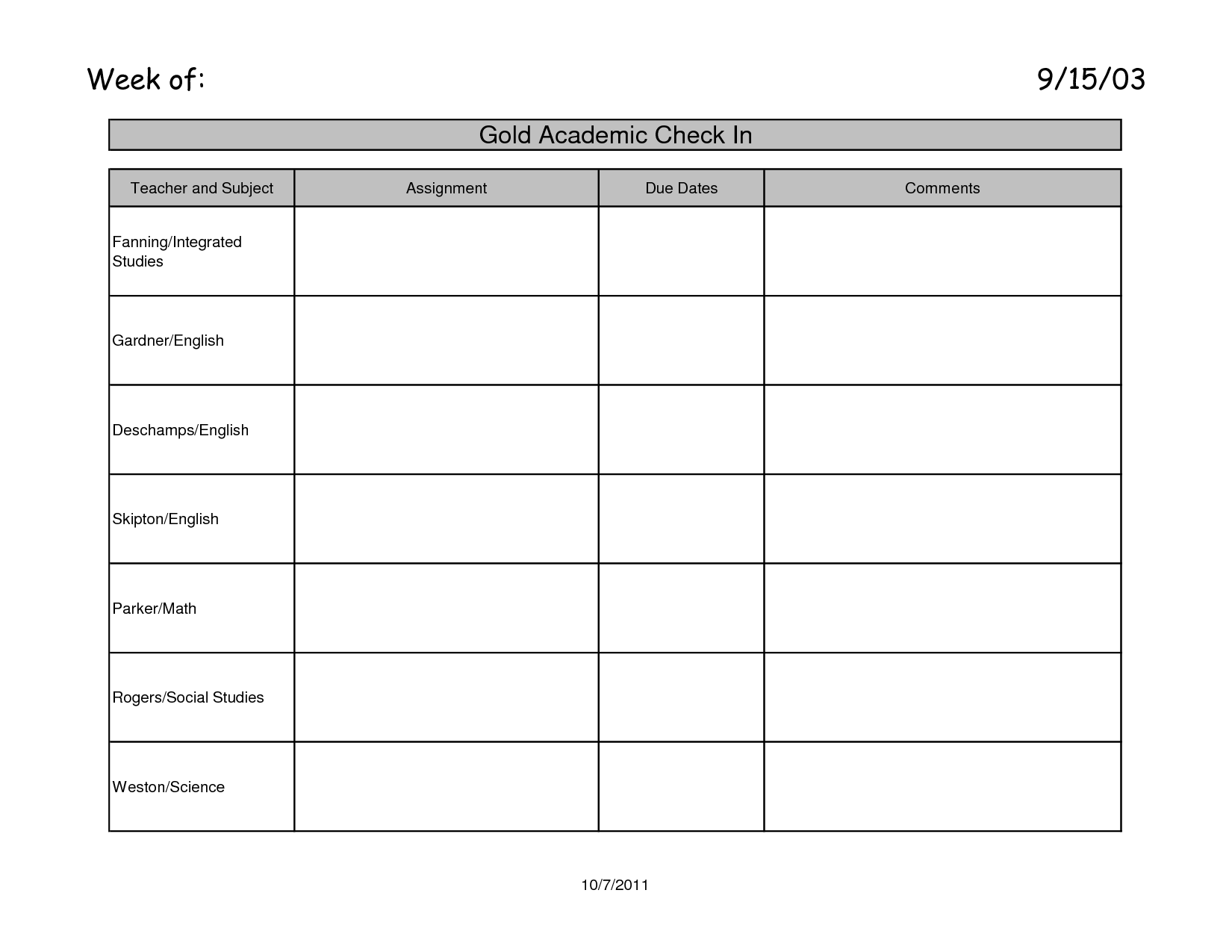 Blank Assignment Book Page Arps