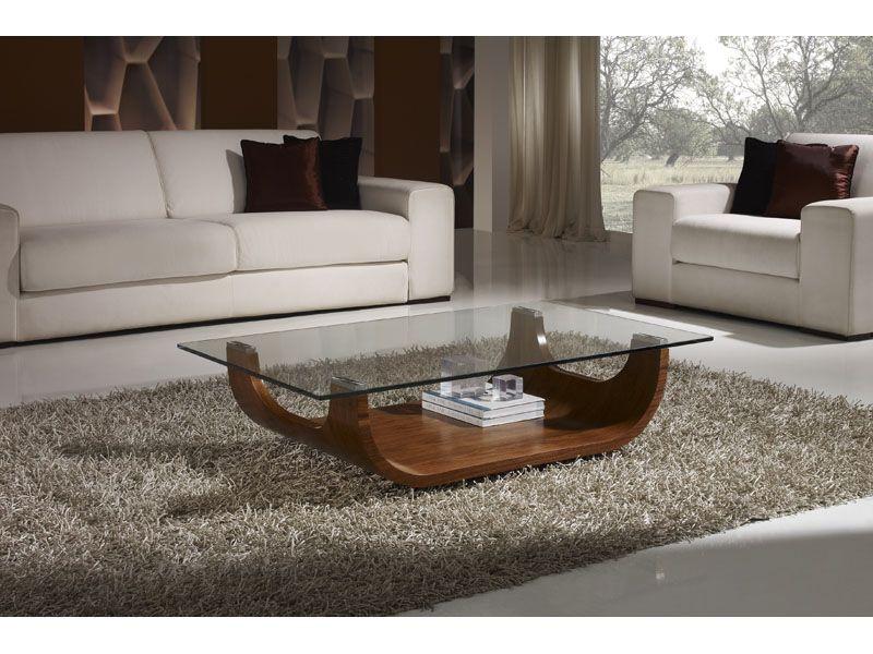 Mesa madera curvada chapada en nogal y tapa de cristal for Mesas de centro madera y cristal
