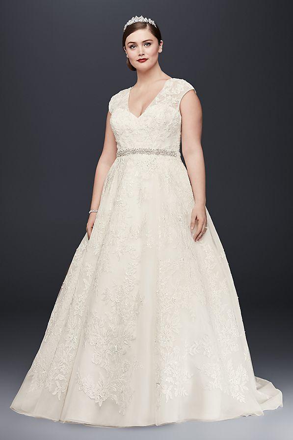 50e47c4cd90a Oleg Cassini Plus Size Ball Gown Wedding Dress Style 8CWG748, Ivory ...