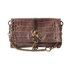 Burberry Prorsum Brown Leather Croc-Effect Fold Over Handbag