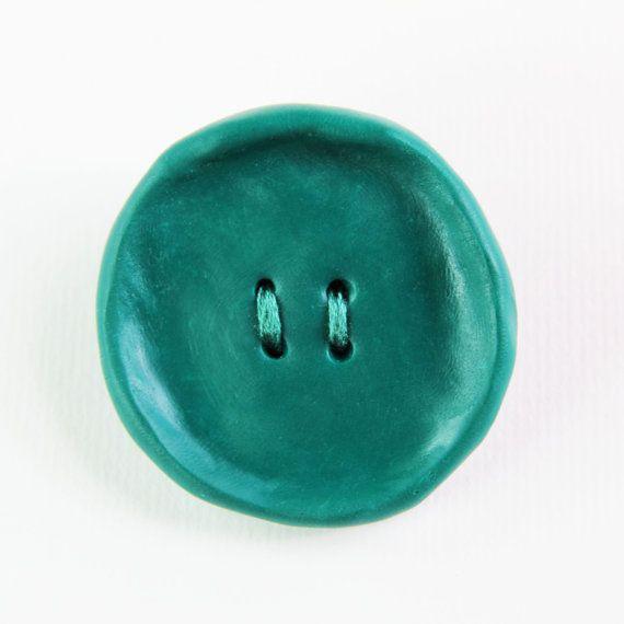 Deep Green Ceramic Button Cardigan & Scarf Pin by GambledGenesis