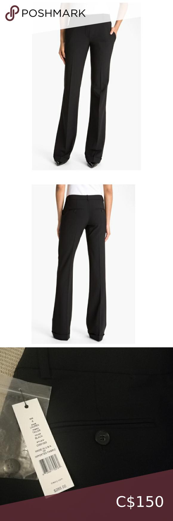 Nwt Theory Lauren Black Dress Work Pants In 2021 Work Pants Pinstripe Dress Pants Flare Dress Pants [ 1740 x 580 Pixel ]
