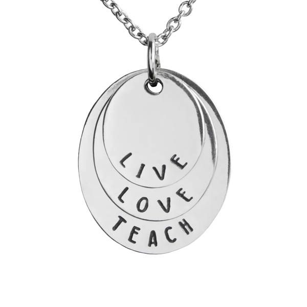 Greater Good Live, Love, Teach Square Necklace at The Paper Store