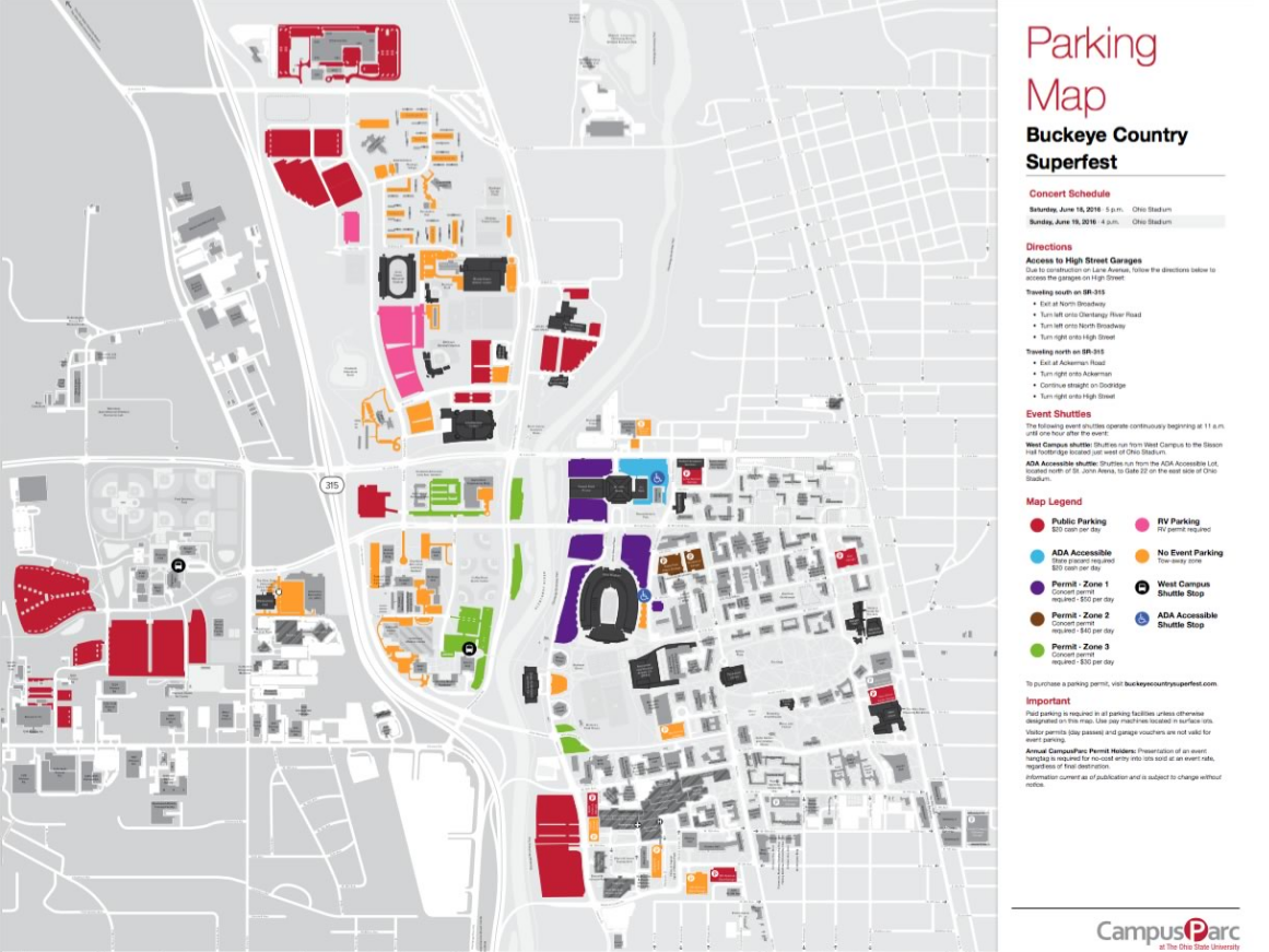 Parking Map for Buckeye Country Superfest Buckeye, Map, Zuko