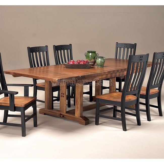 Rustic Mission Trestle Dining Table Only With Extendable Bench On One Side We Live Here