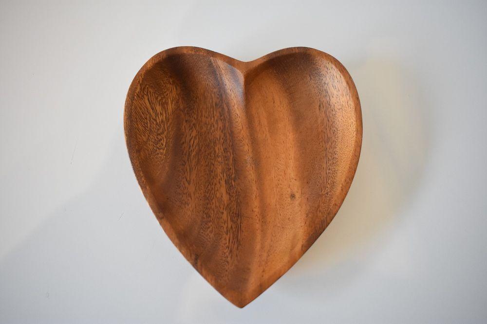 Vintage Monkey Pod Wood Heart Bowl Serving Dish Made In Hawaii Wood Bowl Monkey Pod Wood Wood Hearts Wood Bowls
