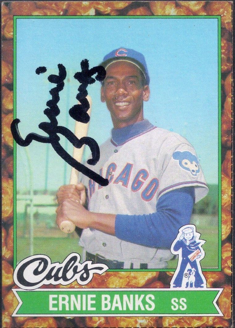 1982 Cracker Jacks Ernie banks autograph Ernie banks