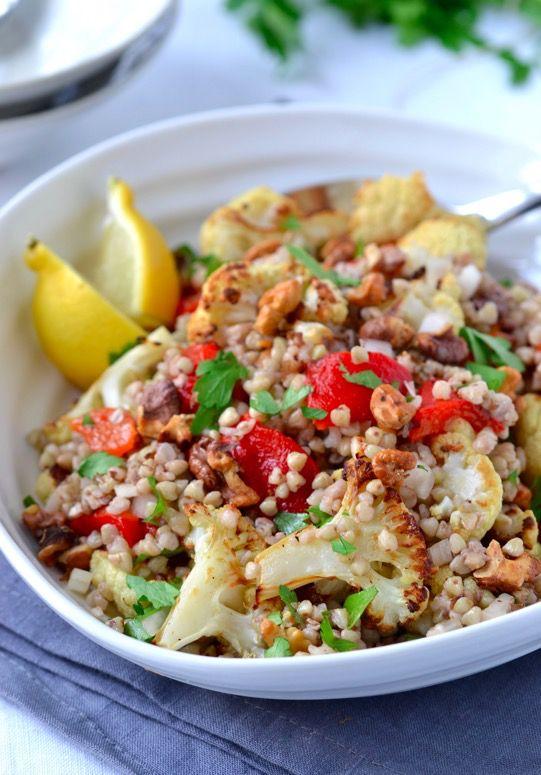 Roasted Red Pepper Cauliflower Walnut Buckwheat Salad