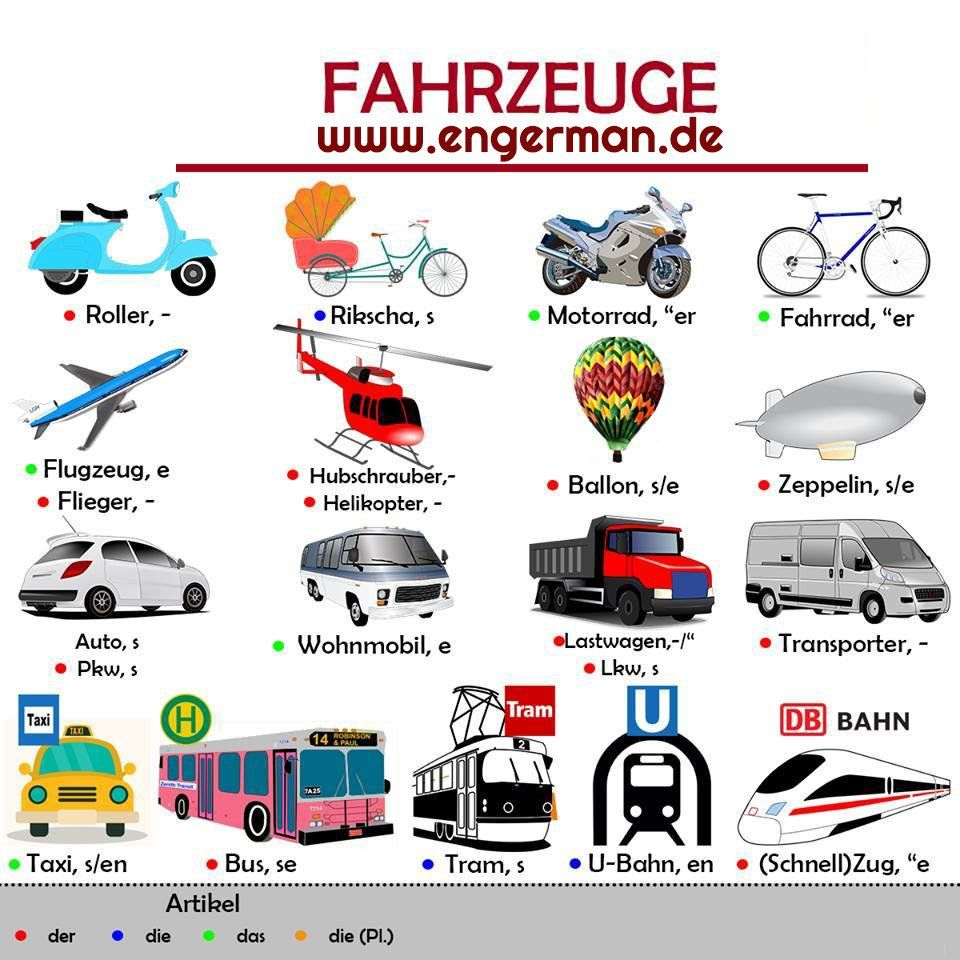 Fahrzeuge | Deutsch Wortschatz | Pinterest