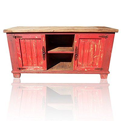 Hi End Rustic Medieval Hand Scrape 60 Inch Tv Stand Red Distressed
