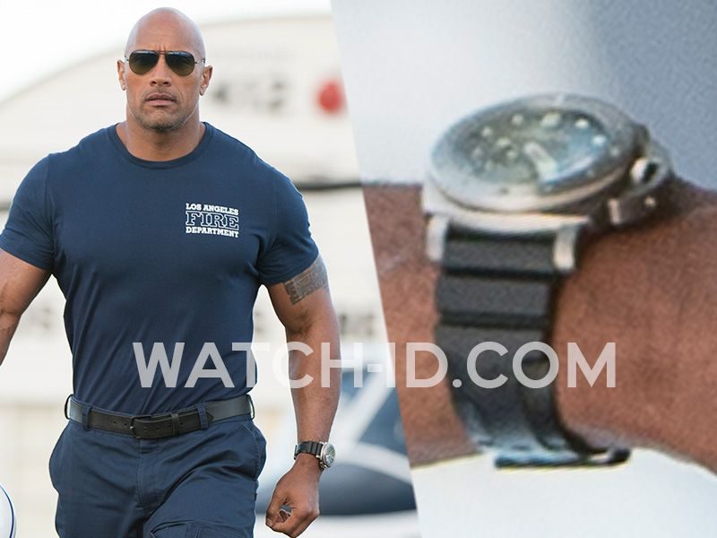 Dwayne johnson wears a panerai luminor 1950 submersible in san andreas stuff i want in 2019 for Celebrity rocks watches