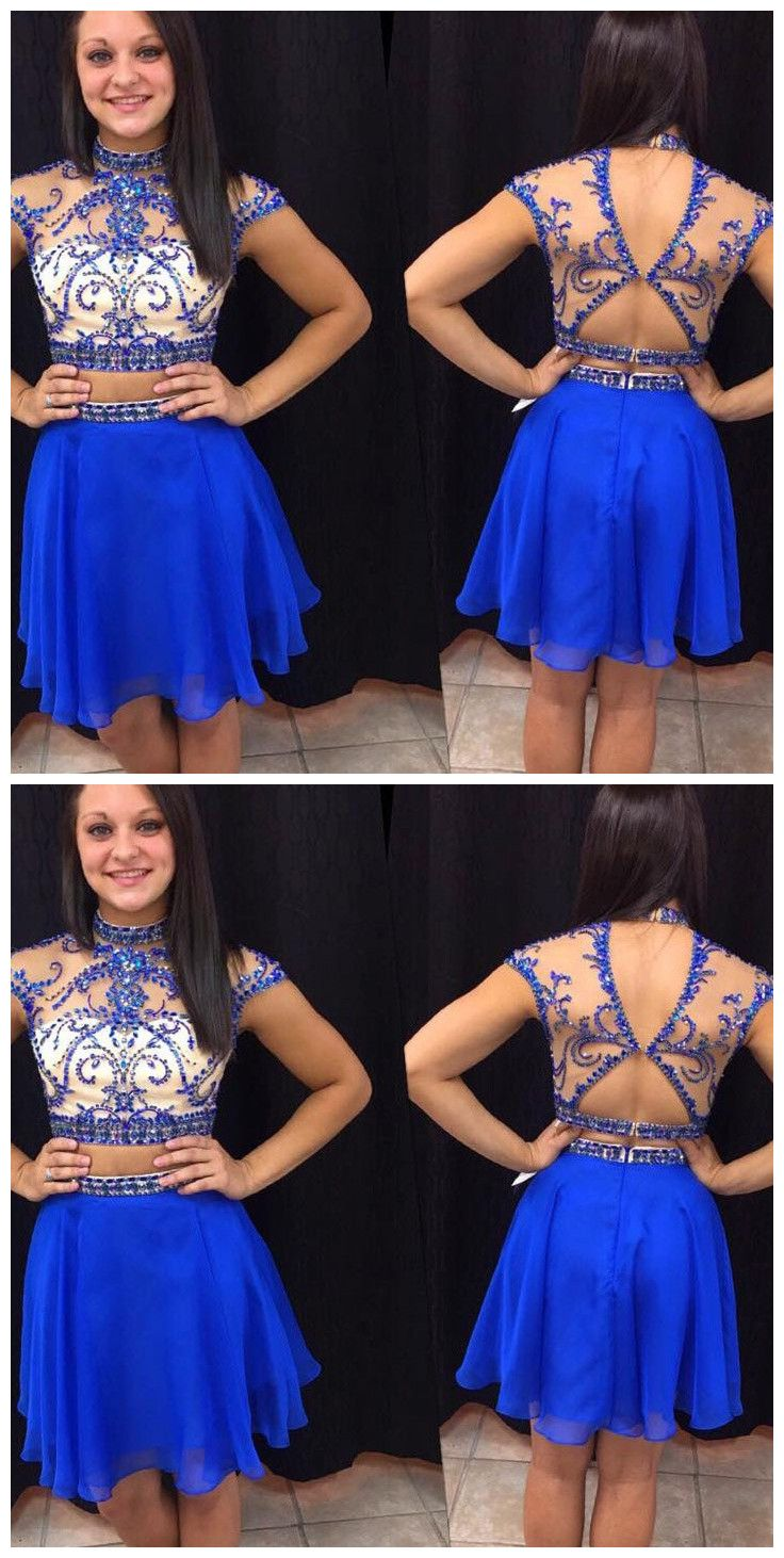 Royal blue homecoming dressshort prom dresseschiffon homecoming