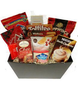Old Fashioned Favourites Gift Basket from GrowerDirect.com features yummy treats like shortbread, toffee, popcorn, chocolates, candy tea and more!