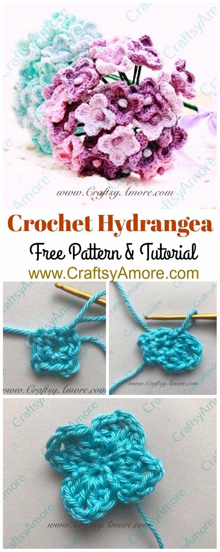 Easy Crochet Hydrangea Flower Free Pattern & Step by Step Tutorial ...