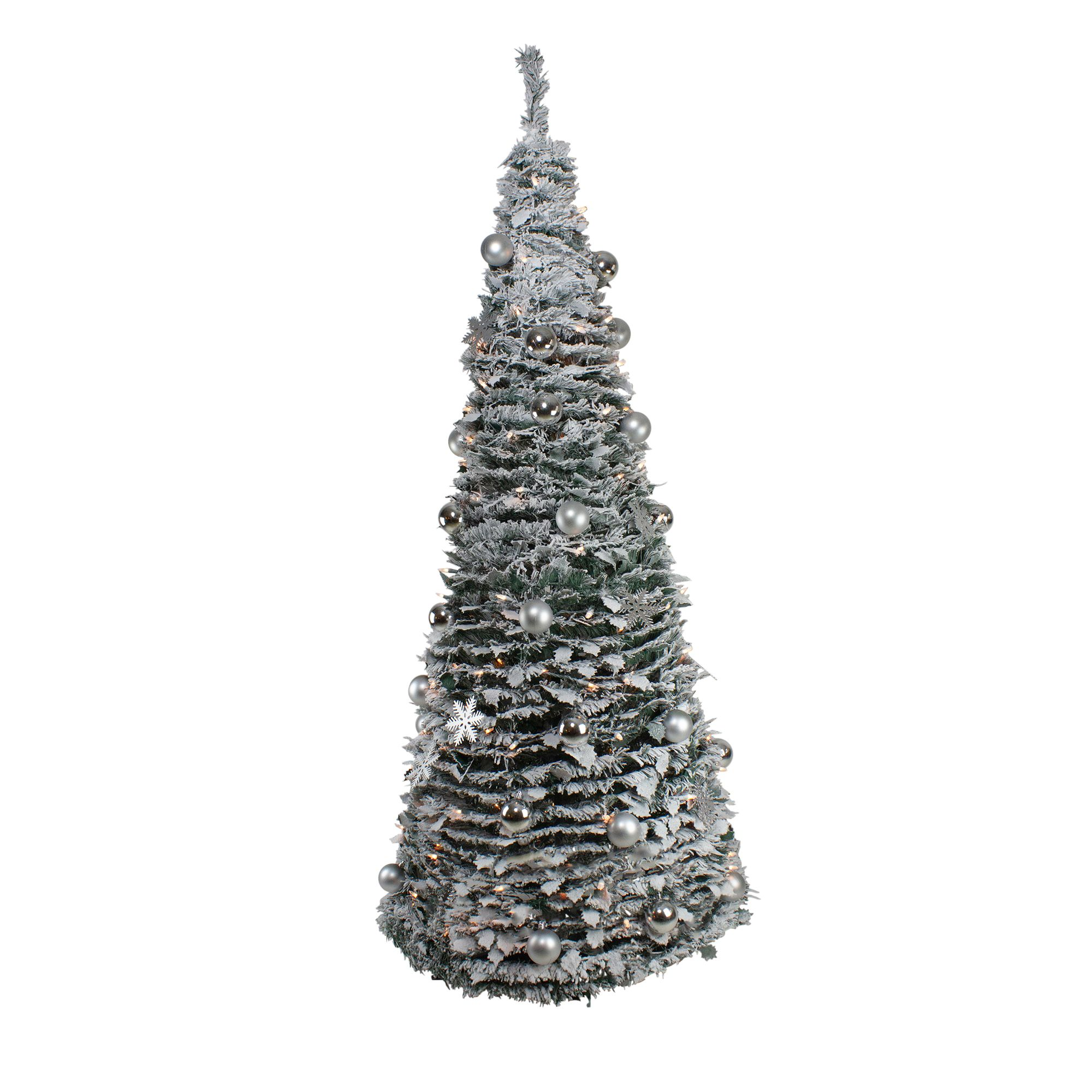 Silver Tinsel Pop Up Christmas Tree: 6' Pre-Lit Silver Tinsel Pop-Up Artificial Christmas Tree