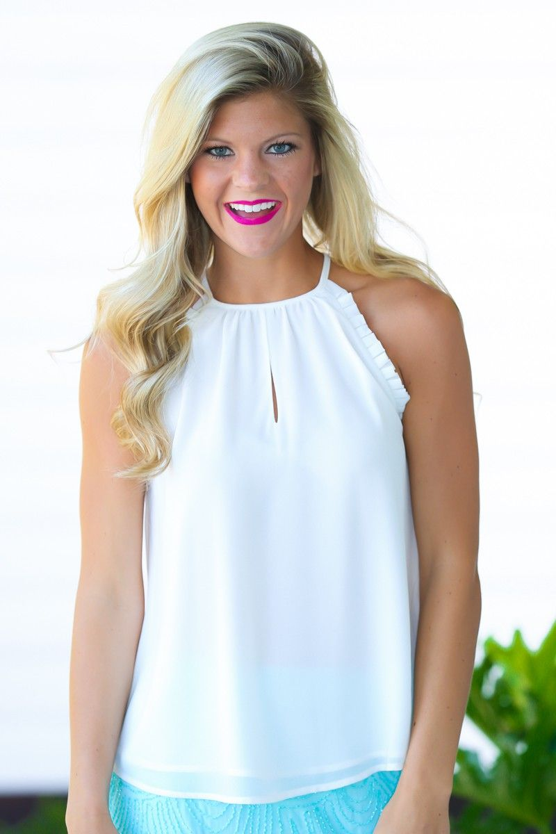 Touch Of Delight White Halter Top at reddressboutique.com