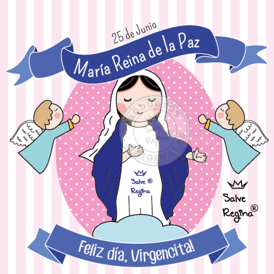 25 de Junio María Reina de la Paz | Virgen de la paz, Imagenes de santos catolicos, Virgen caricatura
