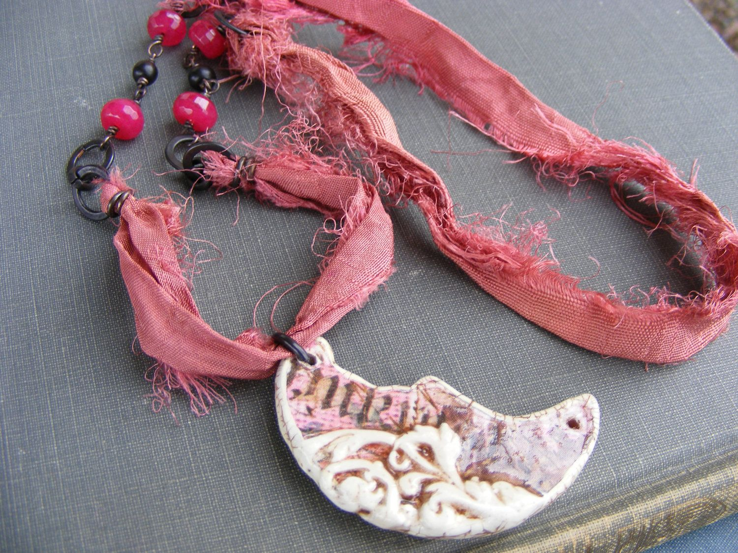 Kiss the Moon Necklace: Sweet Pink Sari Silk with Crescent Moon Pendant Pink Jade Brown and Dark Brass Necklace. $22.00, via Etsy.