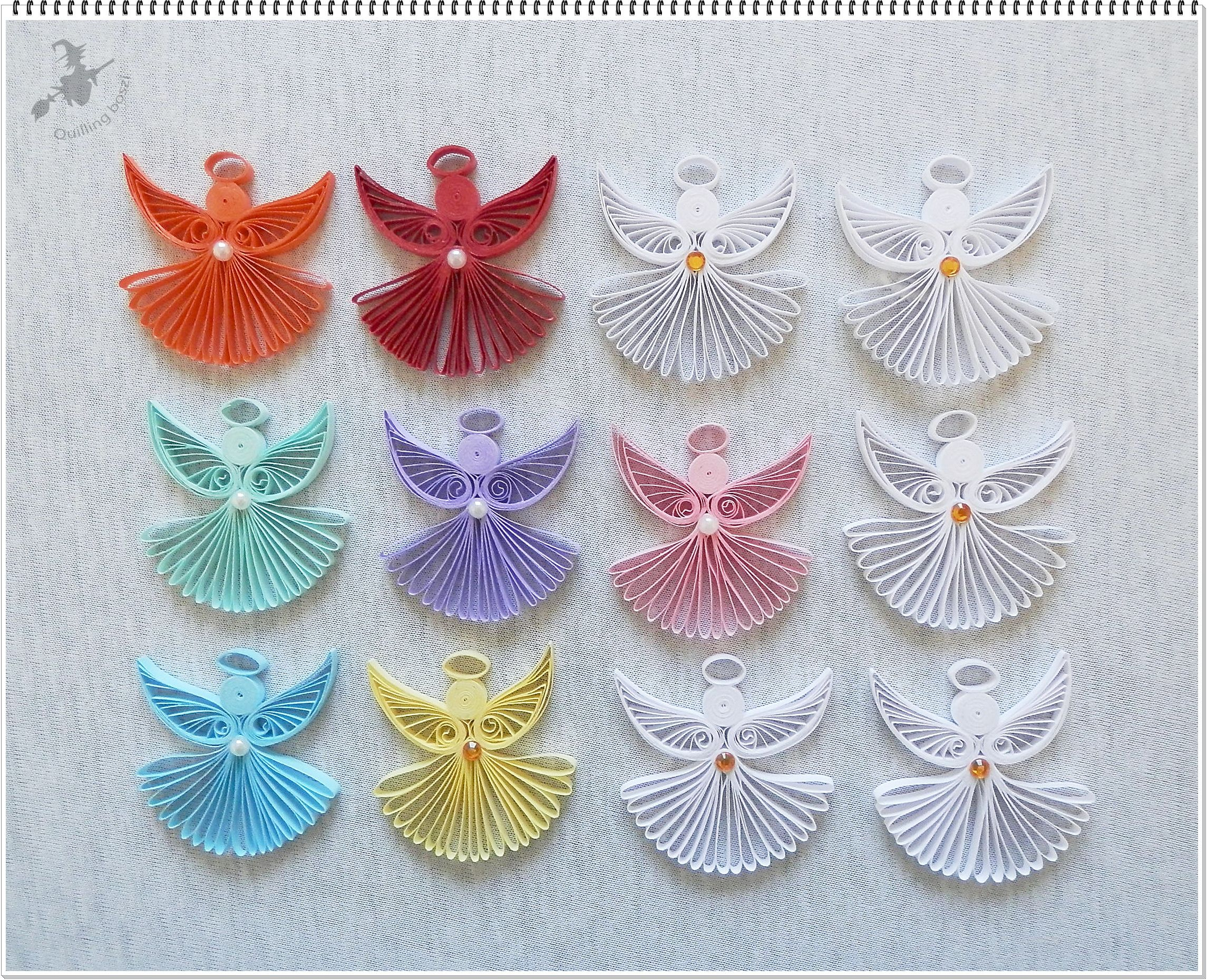 Angyalok quilling kar csony christmas tree ornament for Decoration quilling