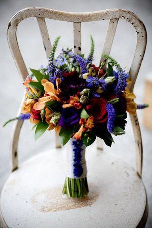 Flowers Bouquet Green Red Orange Blue Purple Bridal Tone Jewl Fl Occasions