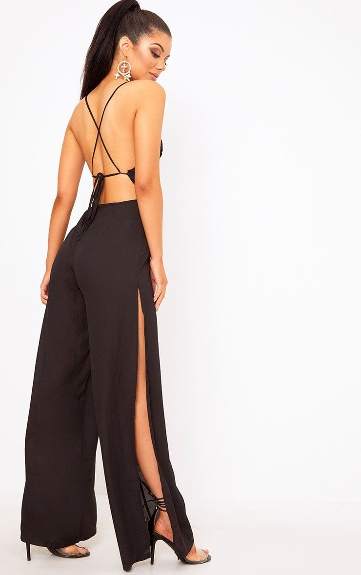 b72f15c6d63 Black Plunge Side Split Leg Jumpsuit Girlll this black jumpsuit is  everythin  we are currently vi.