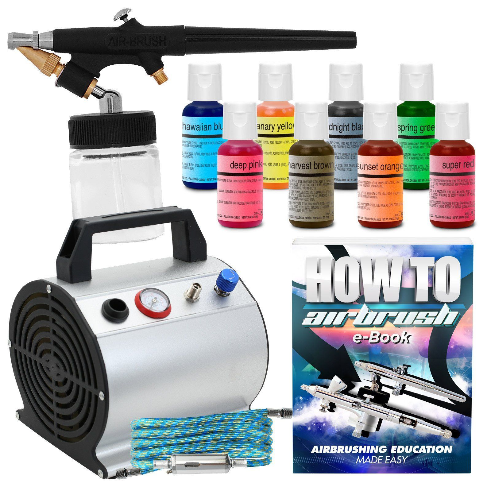 Complete Cake Decorating Airbrush Kit - 8 Chefmaster Food Coloring ...