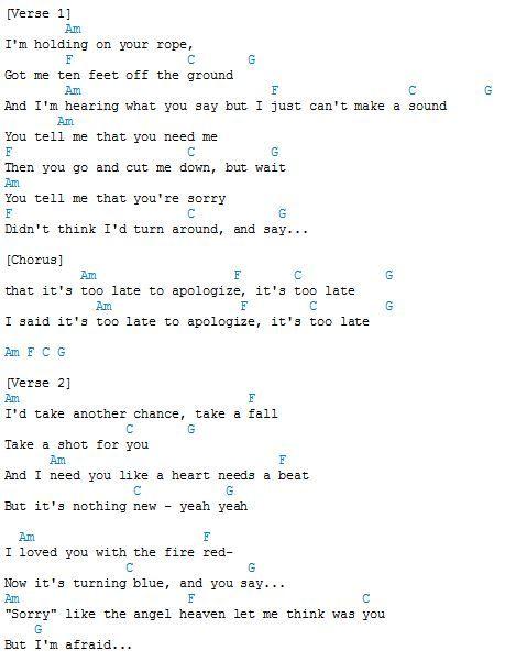 Onerepublic Apologize Chords Ukulele Chords Songs Piano