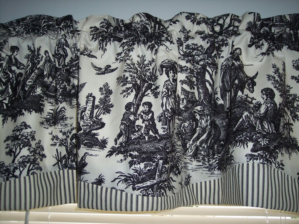 BLACK ON CREAMWAVERLY Country Life Toile Scalloped Stripe Trim Valance Curtains