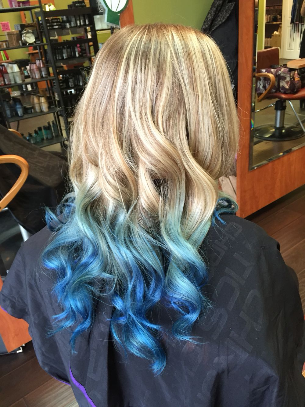 Beautiful Long Blond To Blue Ombre Hair Using Pravana Vivids Hair Colors Hair Done By Mindy Hardy Blue Ombre Hair Blue Tips Hair Blonde And Blue Hair