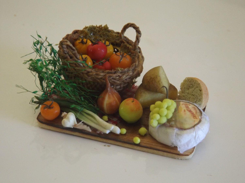 dollhouse miniature prep board , dollhouse food, dolls house handmade, one inch scale by farmhouseminiatures on Etsy