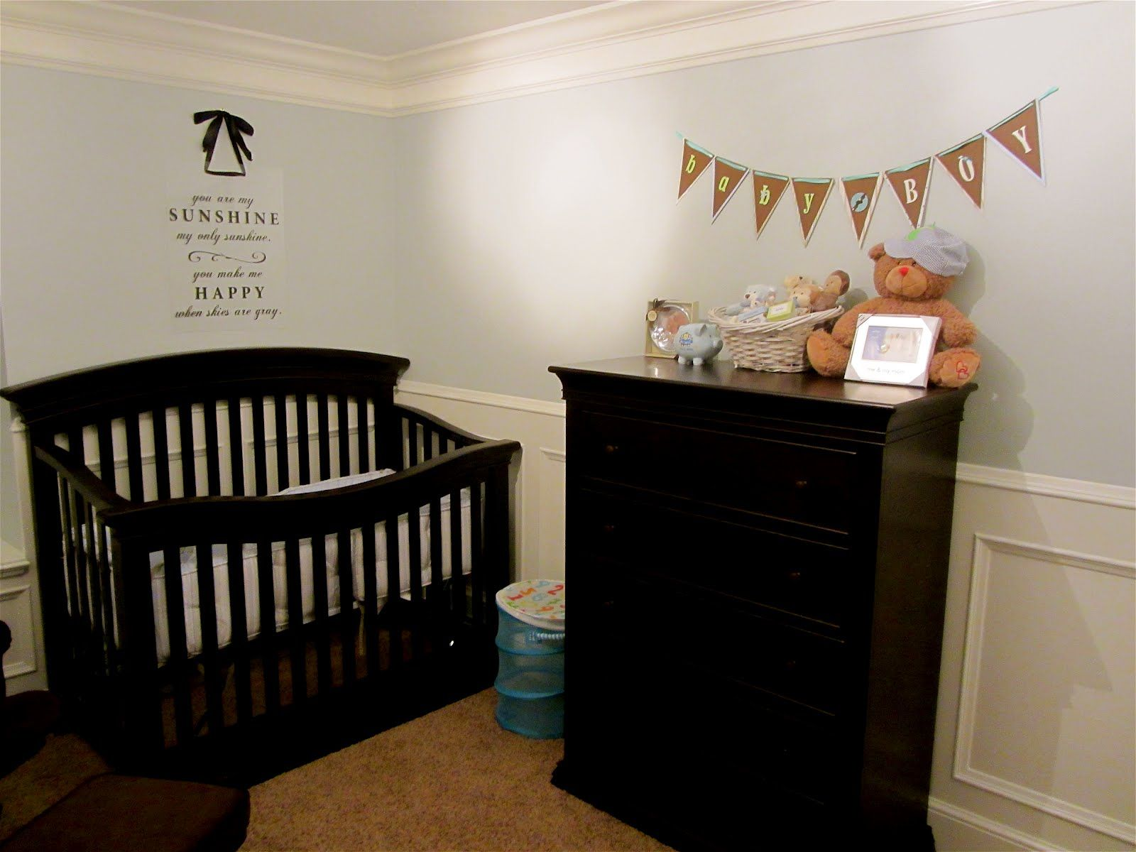 Our baby nursery: My husband did the finish carpentry/wainscoting. I got the label for the song on Amazon. http://jessicafaulkner.blogspot.com/