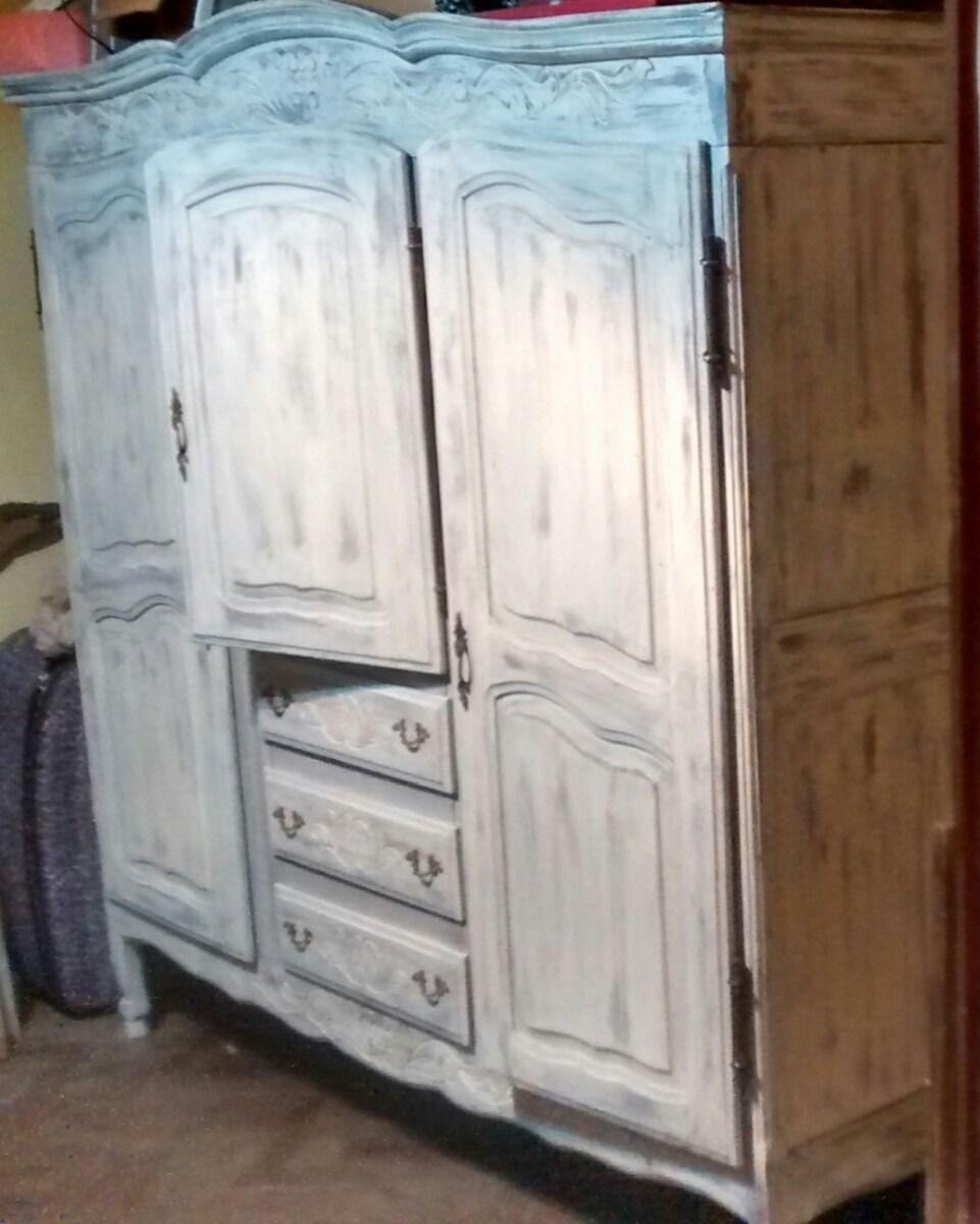 Ropero provenzal antiguo shabby chic patinado en blanco for Roperos antiguos restaurados