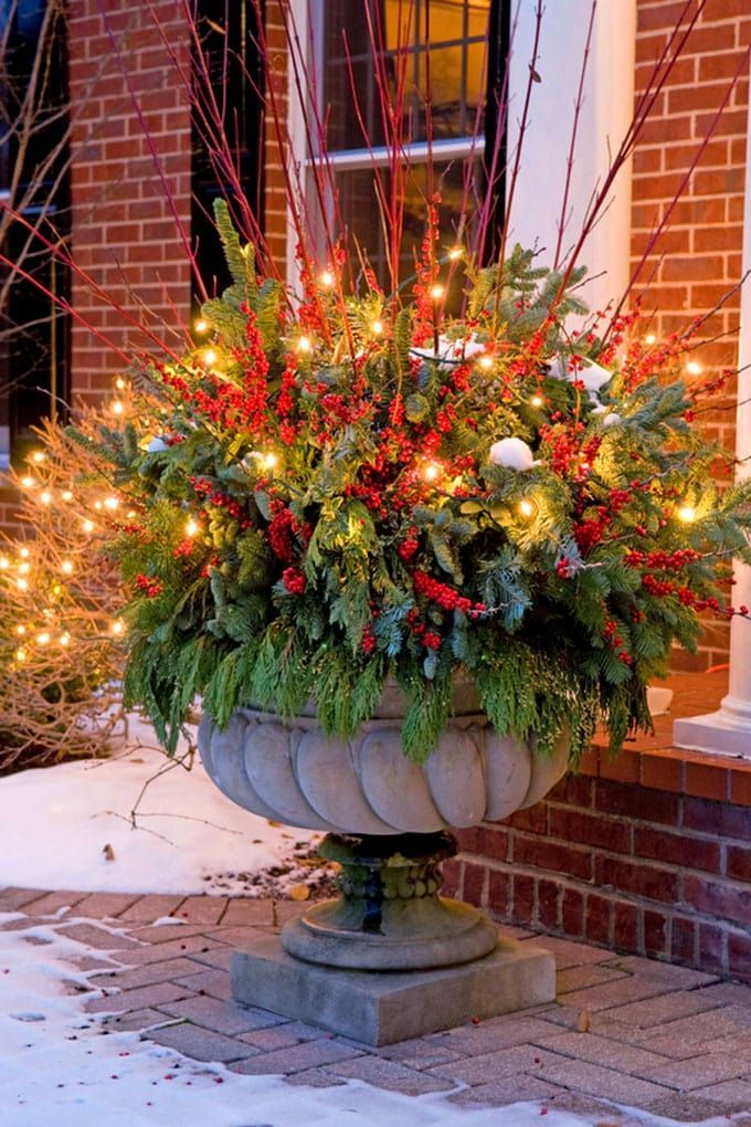24 stunning christmas pots and planters to diy for almost free how to create colorful winter planters as beautiful christmas outdoor decorations