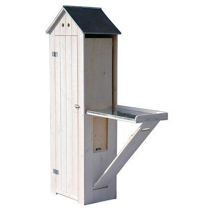 Dobar Holz-Gerätehaus mit Pflanztisch Weiß Antik 130 cm x 48 cm x 185 cm